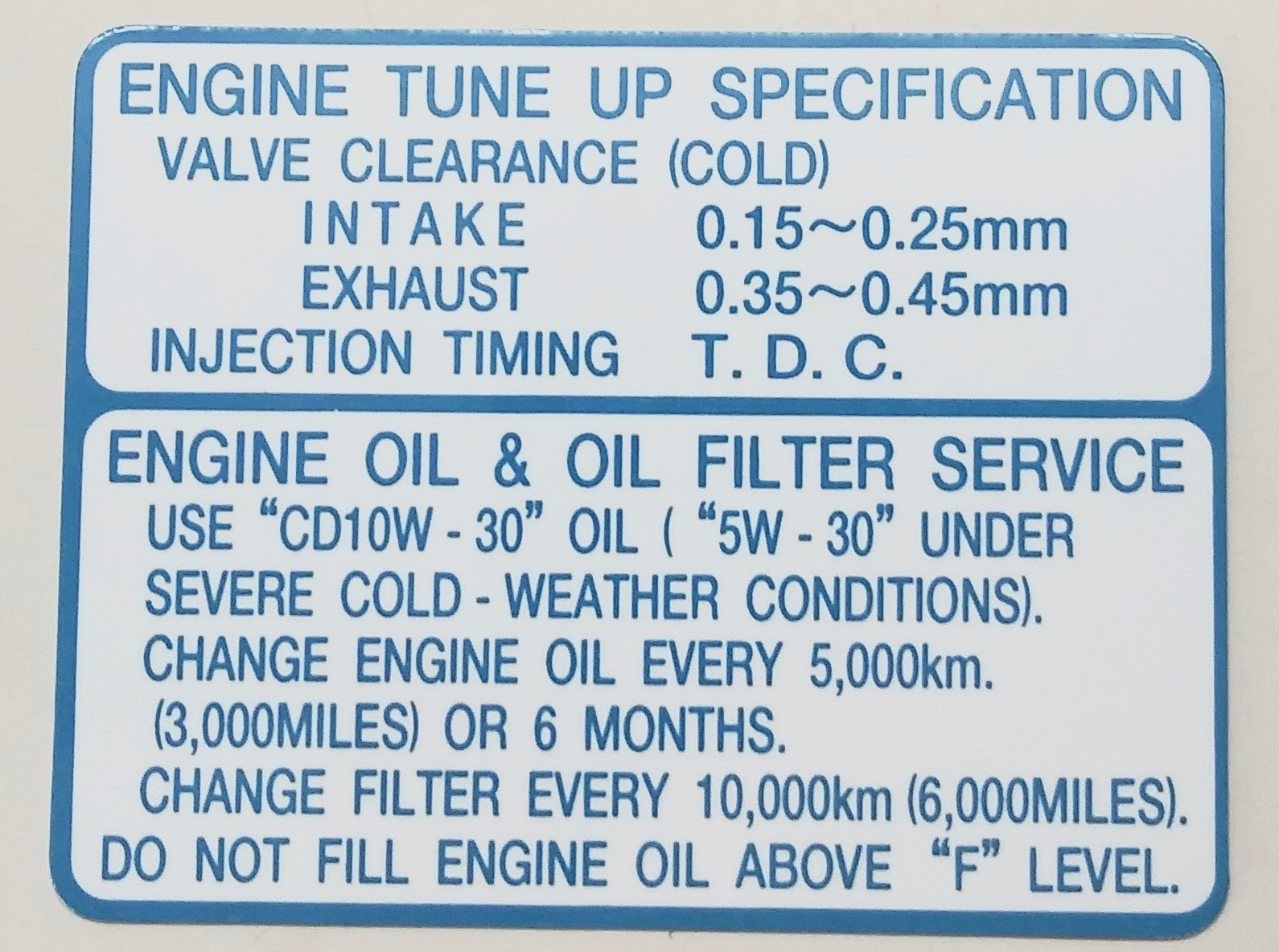 Engine Service Information Decal