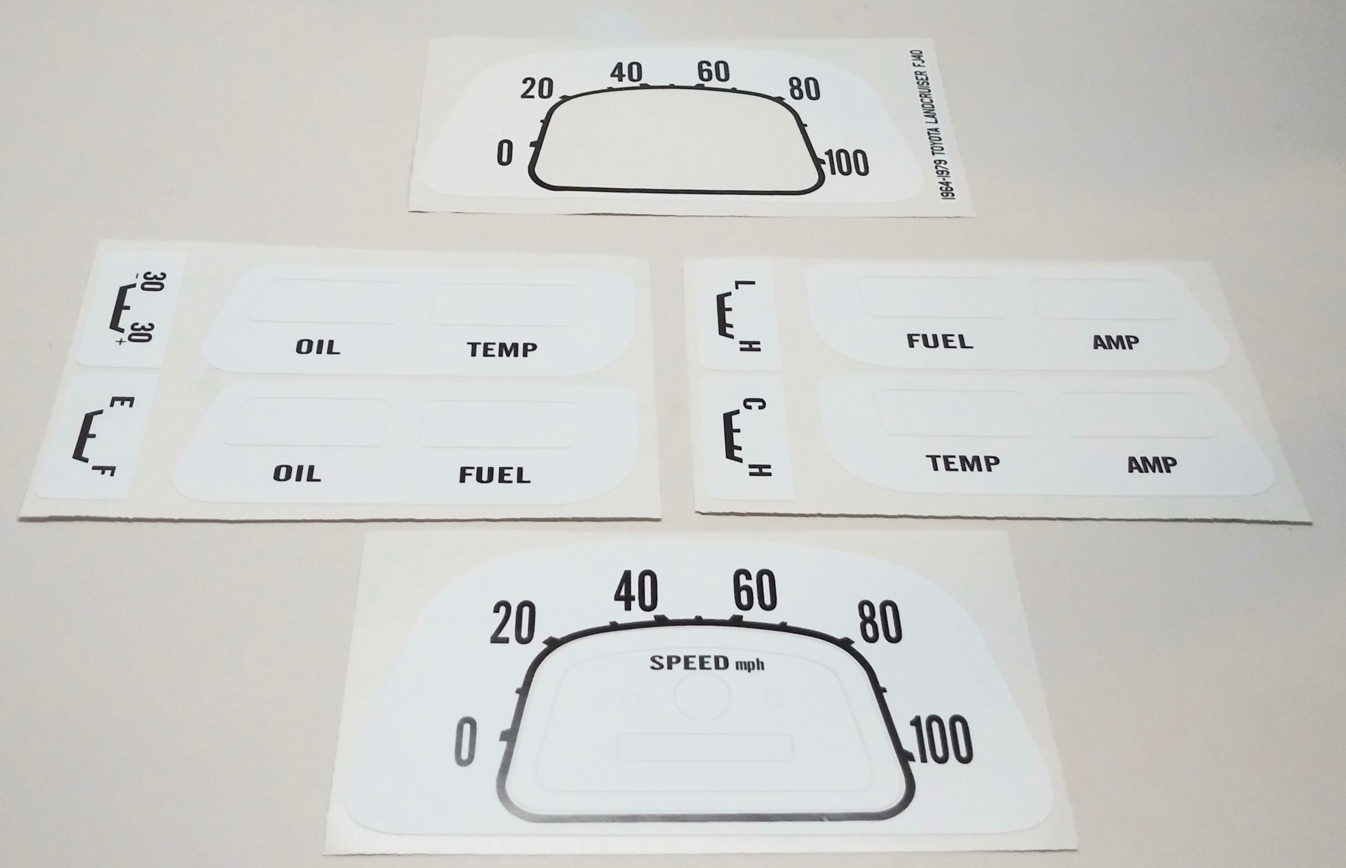 White Gauge Face Decals for 1964-1979 40 Series Cruisers