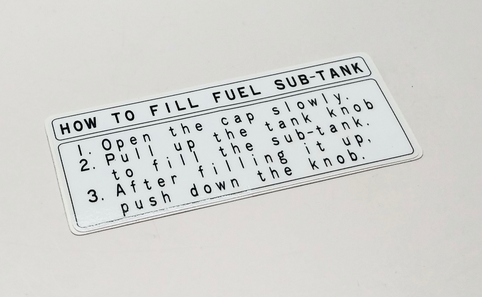 Fuel Information Label for Non US 80 Series Cruisers