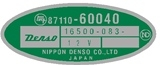 Rear Heater Part Number Decal Pre 1979