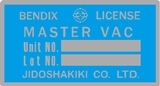 Bendix Master Vac Brake Booster Decal Blue