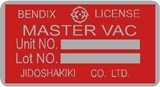 Bendix Master Vac Brake Booster Decal Red