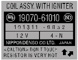 Coil Assy. With Igniter Part Number Decal
