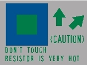 "Resistor ""Don't Touch"" Warning Decal 2F"