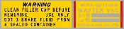 Bendix Master Vac Brake Booster Warning Decal