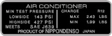 Air Conditioner Pressure Charge Info Decal 1979+