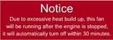 Notice Carb Cooling Fan Warning Decal