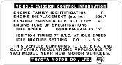 1973 Emission Decal - 2F