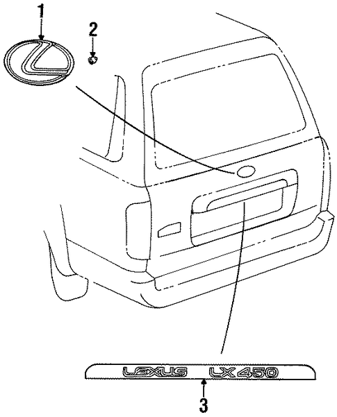 "Rear Lift Gate Lexus ""L"" Emblem for 96-97 LX450 Series"